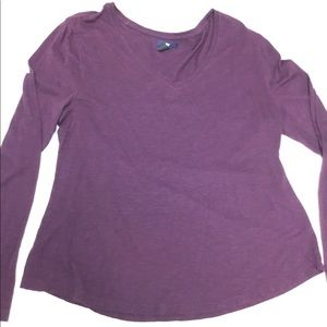 EUC GAP DARK PURPLE V NECK LONG SLEEVE T SHIRT XL